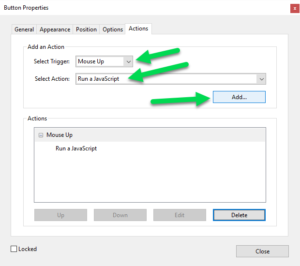Adobe Acrobat Button Actions