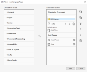 Add Pages Acrobat Action